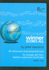 WINNER SCORES ALL treble clef